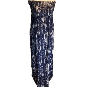 """JOLIE"" Bandeau Blue Tie Dye Maxi Dress ."